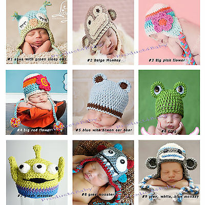 New Baby Boy Girl Crochet Beanie Costume Hat 0-3, 3-6, 6-12M,1-3Yrs Photo Props 2