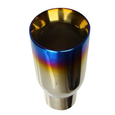 "2.5"" In 3.5"" Out Blue Burnt Exhaust Duo Layer Tip Polished Stainless Steel 2"