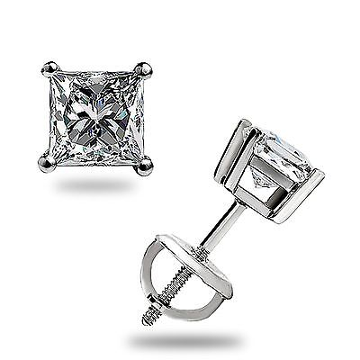 1.05Ct Princess cut Solitaire Stud Earrings Lab Diamond 14k White Gold Screwback 10