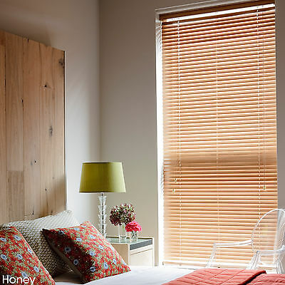 WOODEN VENETIAN REAL WOOD BLINDS - 25,35 & 50mm SLAT SIZES - CHILD SAFE BLIND 3