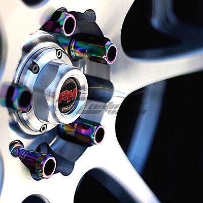 Black 20 PCS M12X1.5mm Lug Nuts Extended Tuner Aluminum Wheels Rims Cap WN02 5