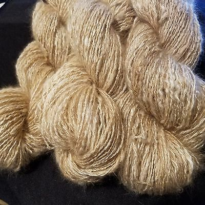 CRAZY Handspun Satin Angora Yarn Natural Fawn 30 yds lace to fingering wt 2 ply 4