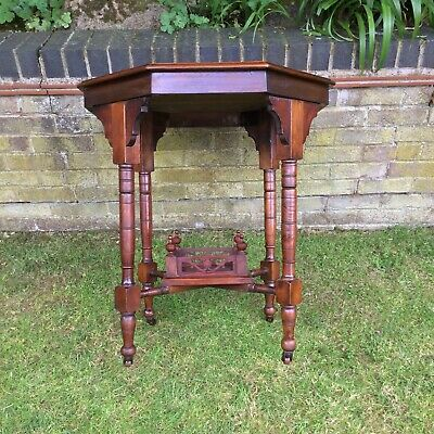 Antique Hall Side Table Victorian Occasional Old Turned Mahogany Stretcher 11