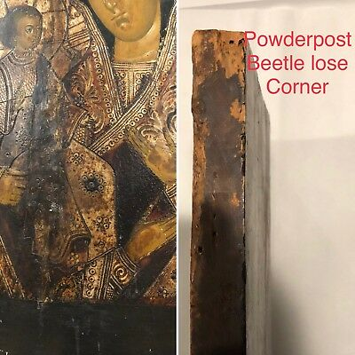 19th c Antique RUSSIAN ICON Mother of God Religious Orthodox Oil Painting Wood 10