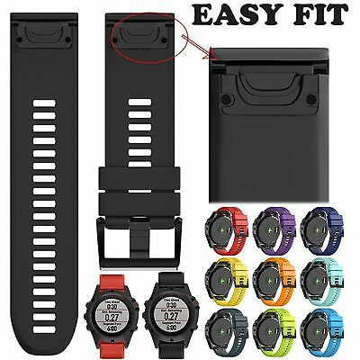 Silicone Quick Install Band Easy Fit Wrist Strap For Garmin Fenix 3 5 5X Plus 6