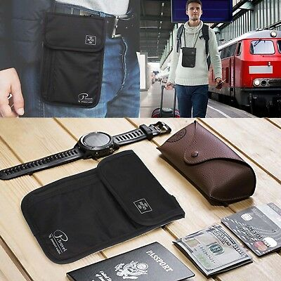 RFID Blocking Neck Stash Pouch Travel Wallet Holder Bag Money Cord Passport Hold 10