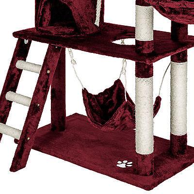 Arbre à chat griffoir grattoir animaux geant avec hamac lit 141 cm hauteur rouge 6