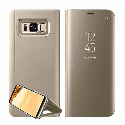 New Samsung Galaxy S7 S8+ S9 + Smart View Mirror Leather Flip Stand Case Cover 8