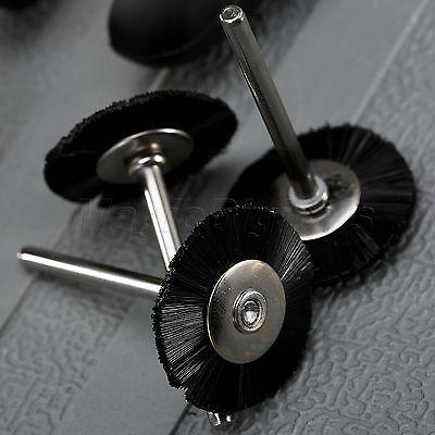 "5Pc 25mm Black Nylon Bristle Wheel Wire Brush 1/8"" Shank For Grinder Rotary Tool 5"