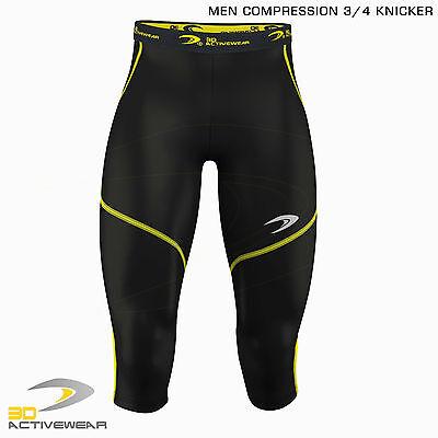Mens Compression Tights Skin Tight Pants Three Quarter Base Layer Shots 3/4 Legg 6