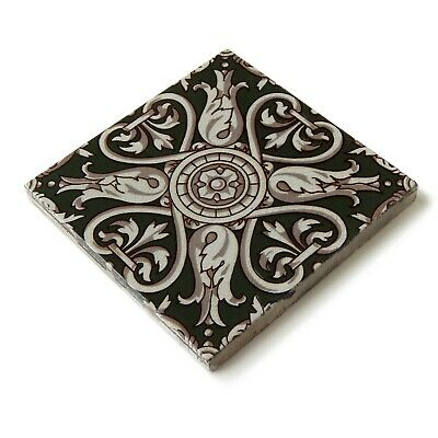 Antique Tile Victorian Aesthetic Gothic Arts Crafts Floral Lea Hearth Green Gray 10
