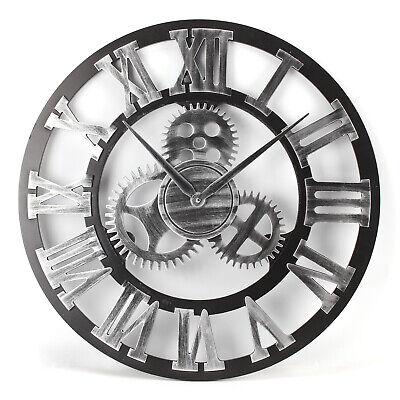 NEW 60CM Outdoor Garden Large Metal Wall Clock Vintage Roman Numeral Gear Rustic 3