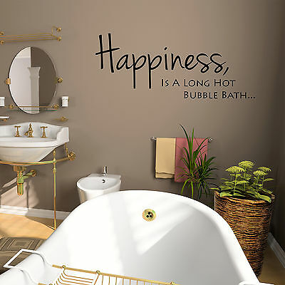 Bathroom Wall Art Sticker Quote Happiness Is A Long Hot Bubble Bath