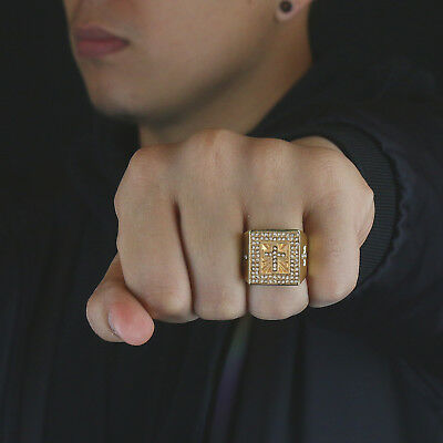 a6c820f4939748 ... Mens 14k Gold Plated Iced Out Hip Hop Style 3 Cross Square Ring CZ  Crystal Bling