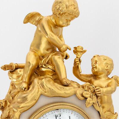 French Napoleon III ormolu clock, pendulette, putti Cupid signed Vincenti & Cie 7