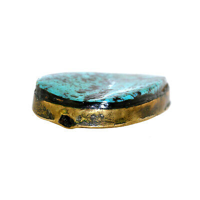 (2457) Antique Tibetan turquoises set in brass 3