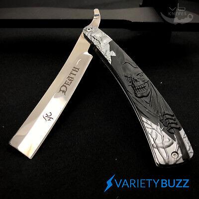 GRIM REAPER Straight Blade Barber Razor Folding Pocket Knife Shaving Cut Throat 5