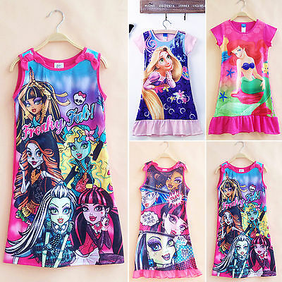 Kids Girls Princess Cartoon Nightie Nightdress Pyjama Sleepwear Nightwear Summer 6