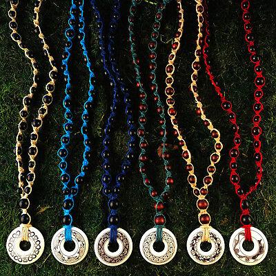HOTI Hemp Handmade Celtic Nehalennia Dolphins Annulus Beaded Turquoise Necklace 5