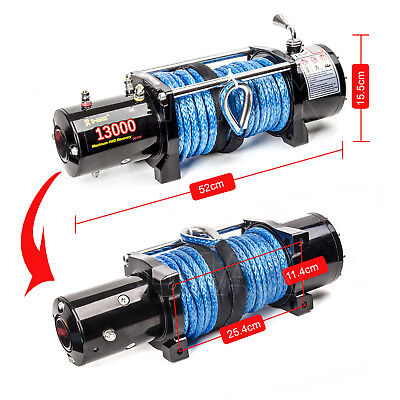 12V 13000LBS/5897KGS Wireless Synthetic Rope Electric Winch 4WD ATV BOAT TRUCK