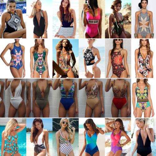 Womens One Piece Push Up Padded Monokini Beach Swimwear Swimsuit Bikini Bathing