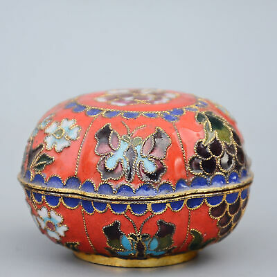 Collectable China Old Cloisonne Hand-Carved Butterfly Moral Auspicious Jewel Box 2