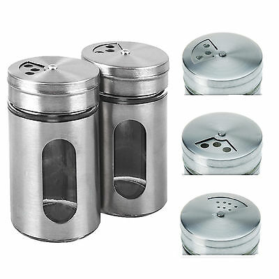 2Pcs Spice Salt Pepper Shaker Jar Rotate Cruet Storage Bottle Stainless Steel JR
