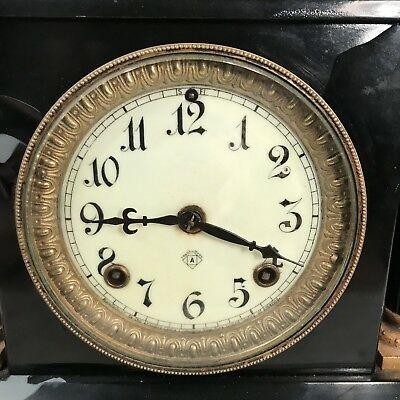 Antique Victorian black slate mantel clock - restoration project 4