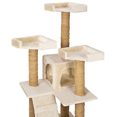 Arbre à chat griffoir grattoir jouet geant 2 grottes 169cm pour chats beige 4