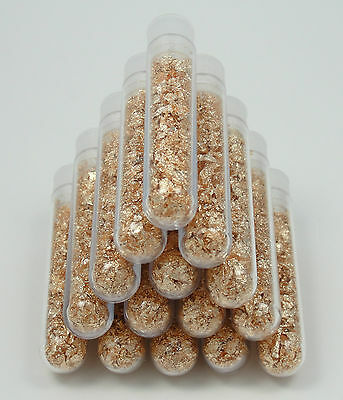 100 Large 3ml Vials, Filled Full of Gold Leaf Flakes! ** LOWEST PRICE ON THE WEB