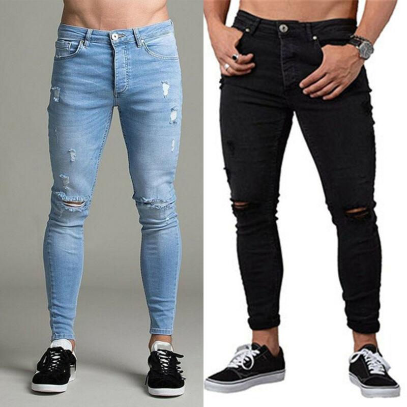 Mens Boys Stretch Skinny Ripped Jeans Biker Frayed Denim Leisure Tight Trousers 2