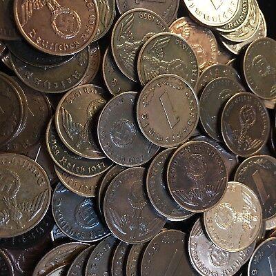50 Coin Lot Rare WW2 German 1 RP Reichspfennig 3rd Reich Bronze Nazi Coins 7