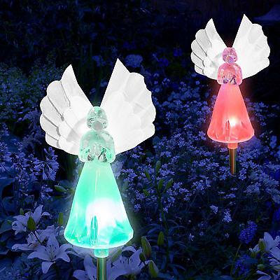 Set of 2 Solar Power Angel Fiber Optic Wings Garden Stake Color Change LED Light 3