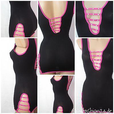 Sexy Netzkleid Dessous Strass geschnürt top Hemdchen Damen Frauen 4