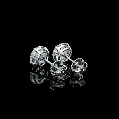 3 Ct. Round Created Diamond Stud Earrings 14K White Gold Heavy Basket Screw-Back 4