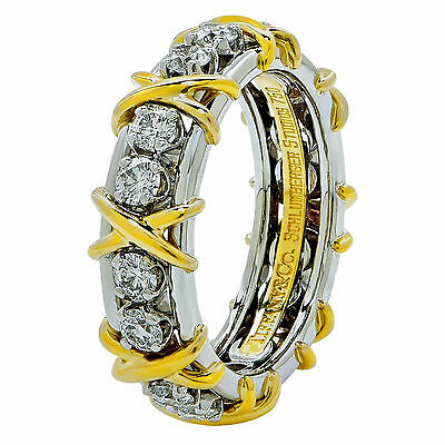 cf4673619 TIFFANY & CO. Jean Schlumberger 16 Stone Diamond Band 18K Gold Ring ...