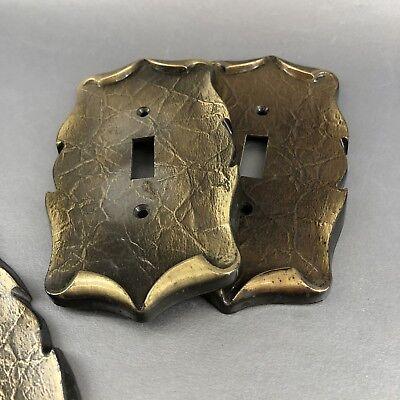 Set Of 3 Vintage Amerock Decorative Metal Light Switch Plate Covers Brass Black 3