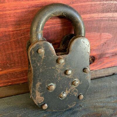 Colt Gun Cabinet Padlock Cast Iron Lock W/ 2 Working Keys Vintage Antique Finish 8