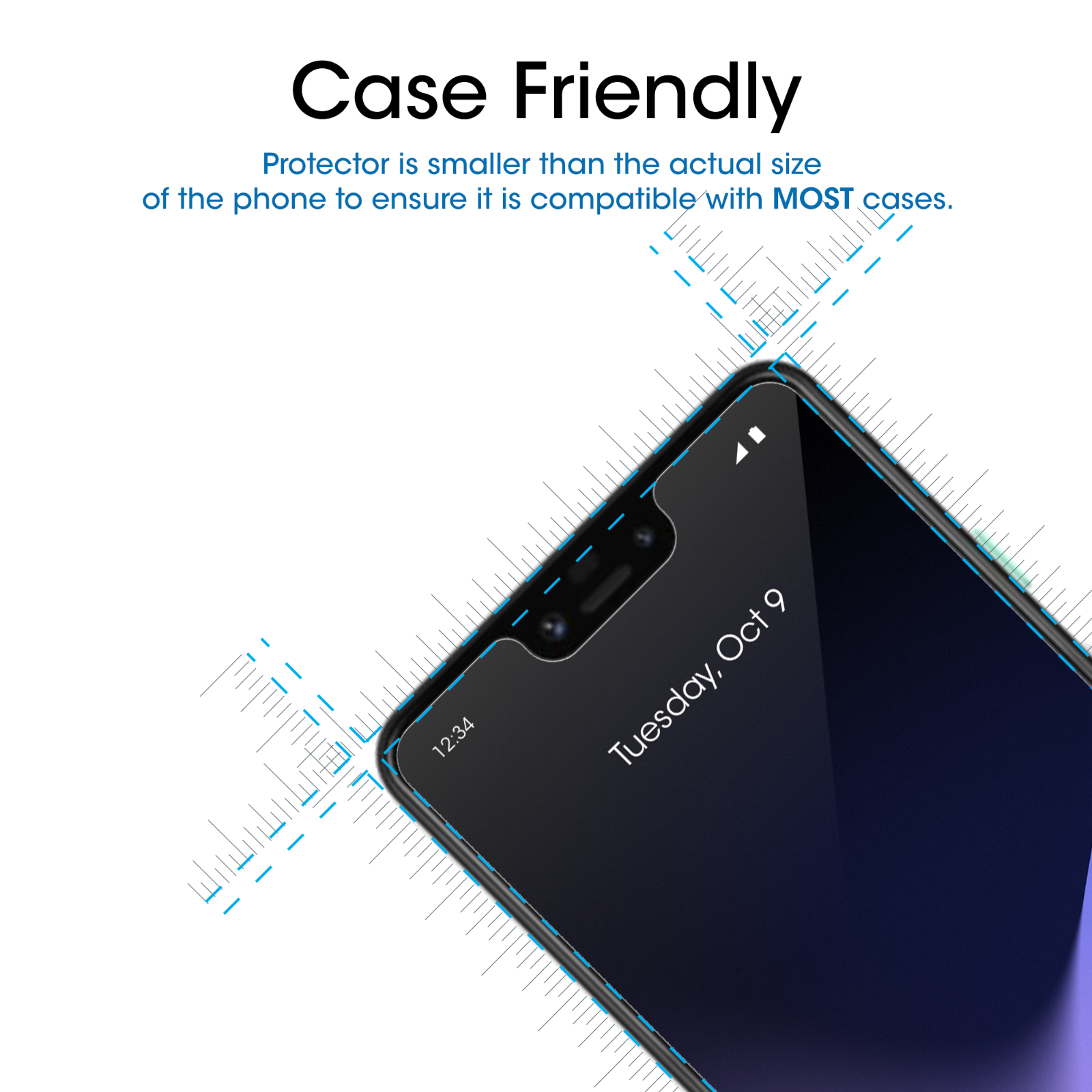 Google Pixel 3 XL amFilm Case Friendly Tempered Glass Screen Protector (3 Pack) 2