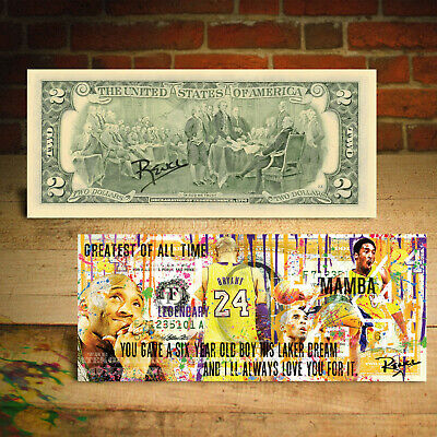 KOBE BRYANT Mamba Pop-Art Genuine Legal Tender $2 Bill - HAND-SIGNED by Rency 3