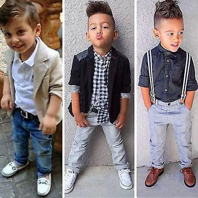 6976b0af ... Toddler Kids Baby Boys Gentleman Outfits Suit Coat Shirt Top + Pants Set  Clothes 3