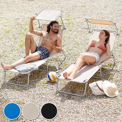Chaise longue de jardin pliante transat bain de soleil + pare soleil beige 5
