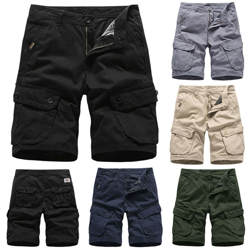 Mens Cargo Combat Work Shorts Trousers Army Military Hiking Camping Half Pants 5