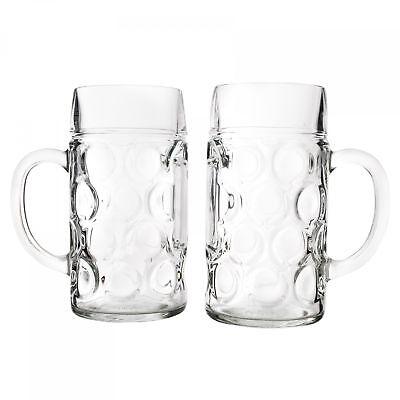 2er Set Maßkrug 1 L geeicht Bierkrug Glas Bierglas Glaskrug Maß Bier Maßkrüge 2