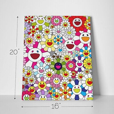 """16X20"""" Gallery Art Canvas: Takashi Murakami Flowers Smiley Faces Complexcon! 5"""