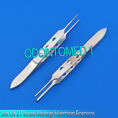 2 Bishop Harmon Forceps 1x2 Teeth & Serrated Ent Instruments 3
