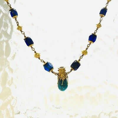 BEAUTIFUL Ancient Roman Gold Pendant Necklace With Green And Blue Glass Beads 11