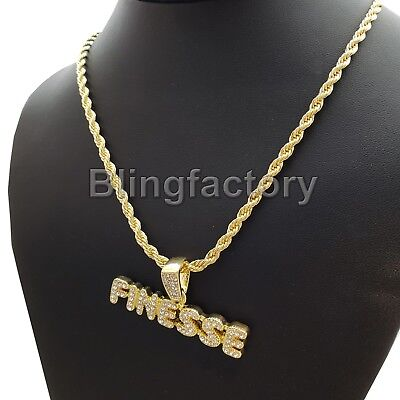 10mm 14k Gold Cz G Link Chain Hip Hop Jewelry King Ice >> Hip Hop Iced Lab Diamond Finesse Pendant 4mm 24 Rope Chain Fashion Necklace