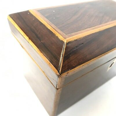 Fine Antique Regency Rosewood Satinwood Inlaid Two Section Tea Caddy C1820 10