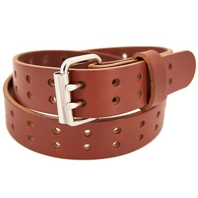 Men's Double Prong Full Grain Heavy-Duty Leather Belt 2 Hole - USA Made By Amish 4